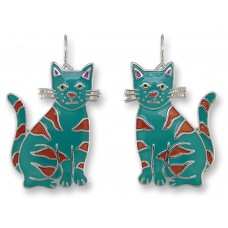 Zarah earrings with silver plated enamel pendants. Colorful and geometric cats