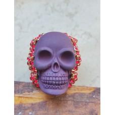 Blood-red skull ring with crystals, 59,1 mm Umfrag (18,9 mm Ø (9))
