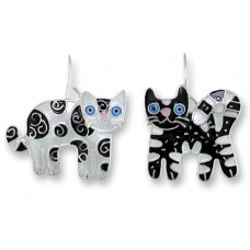 Zarah earrings with silver plated and enamel pendants. Decorated and different cats