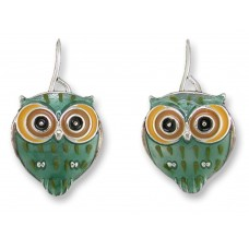 Zarah earrings with silver plated pendants and enamel. Owl, better... little owl!