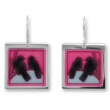 Zarah earrings in stainless steel and vinyl. The crows and the moon