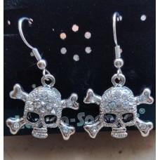 Lauren Spencer earrings. Skull (pirate) with crystals