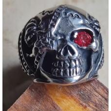 Steel ring: skull with red crystal, 59,1 mm Umfrag (18,9 mm Ø (9))