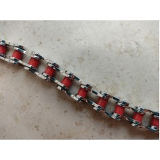 Steel bracelet: Motorcycle transmission chain. Red