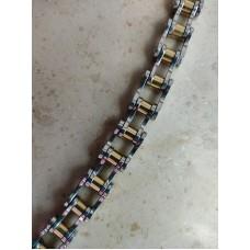 Steel bracelet: Motorcycle transmission chain. Golden color