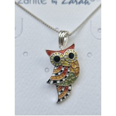 Zarah Company chain with silver-plated and enamel pendant. Colorful owl