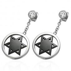 Steel earrings: pendant Star of David