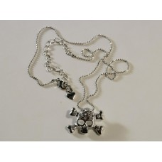 Necklace: small skull and bones with crystals