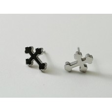 Steel earrings. Small Gothic cross crosses