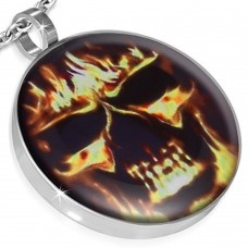 Steel necklace. Pendant with burning skull