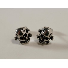 Steel earrings: small skull with bones
