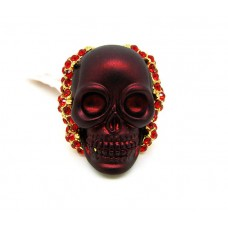 Blood-red skull ring with crystals