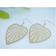 Gold-colored steel earrings: the heart and the spiderweb