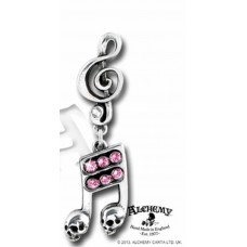 Alchemy Earring: Tied notes tied with small skulls and G clef