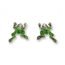 Zarah Californian Jewelry drop earrings silver plated and enamel. Small frogs