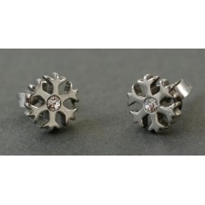 Steel earrings. Snowflake with crystal