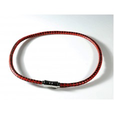 Necklace in red and black braided leather