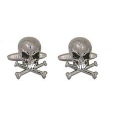 Manschettenknöpfe mit Schädeln, sehr wütende Schädel (mit Knochen)