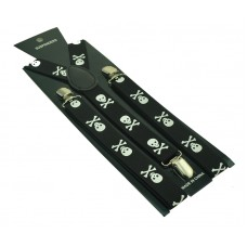3-hook suspenders with skulls and bones in white on black
