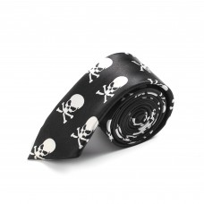 Tight skinny tie with skulls and bones