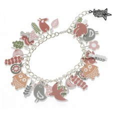 Silver plated chain bracelet with charm: The owls in the forest
