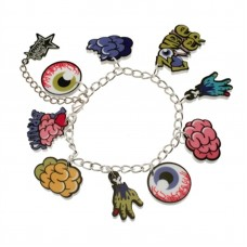 Silver plated chain bracelet with charm: Creepy zombie, for thrillers