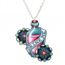 Alice in Wonderland necklace, silver plated chain: Drink me!