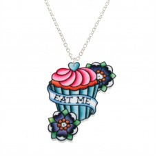 Alice in Wonderland necklace, silver plated chain: Eat me!