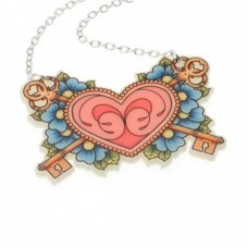 Necklace with silver-plated chain: Heart, keys of love and Do not forget me