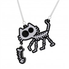 Silver plated chain necklace: Ghost cat with fish