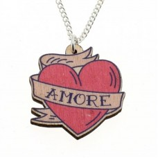 Necklace with silver-plated chain: heart with the word Love
