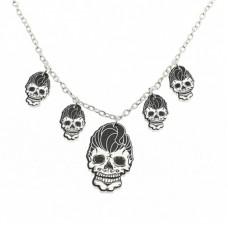 Necklace with silver-plated chain. Rockabilly skulls