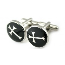 Cufflinks in steel with cross on black enamel