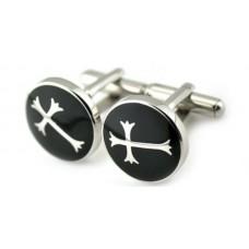 Manschettenknöpfe aus Stahl mit Kreuz auf schwarzem Email